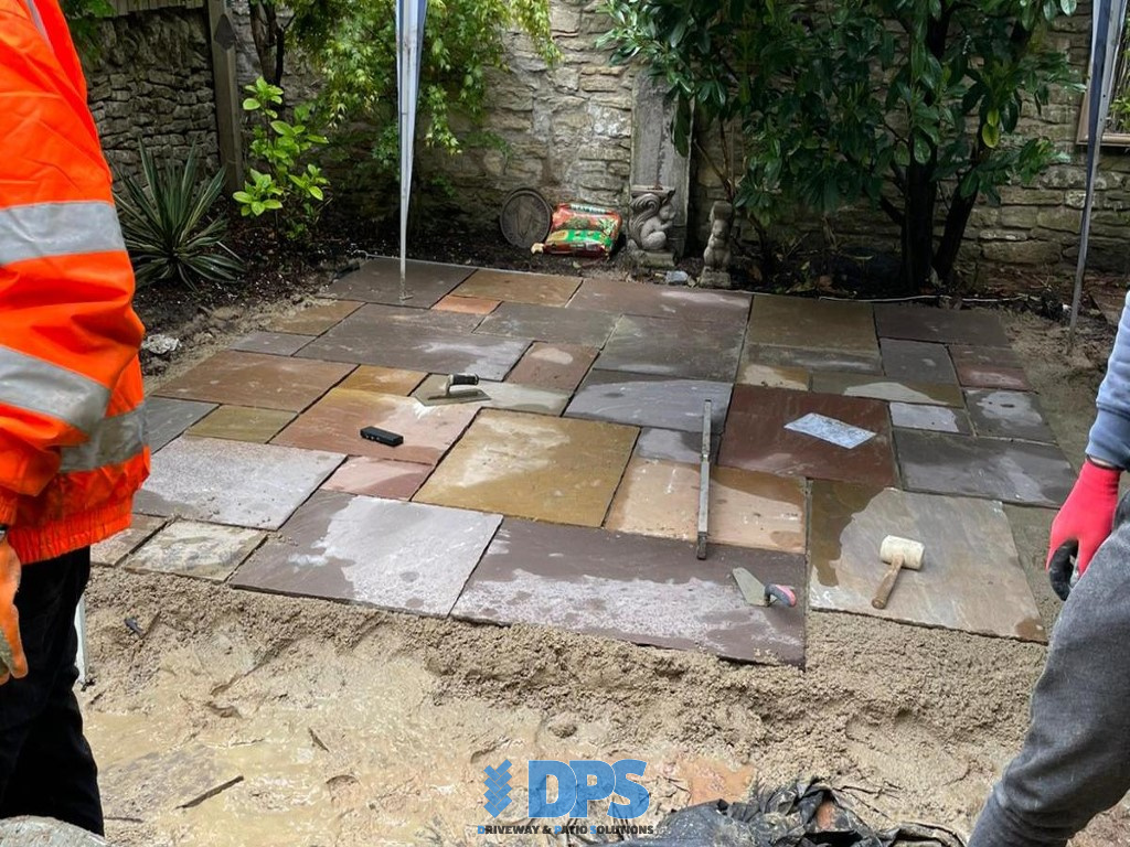 Tiered Sandstone Patio in Cirencester (2)